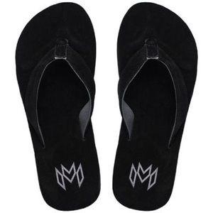 NWT Black Genuine Leather Suede Flip Flops Sz 9/10